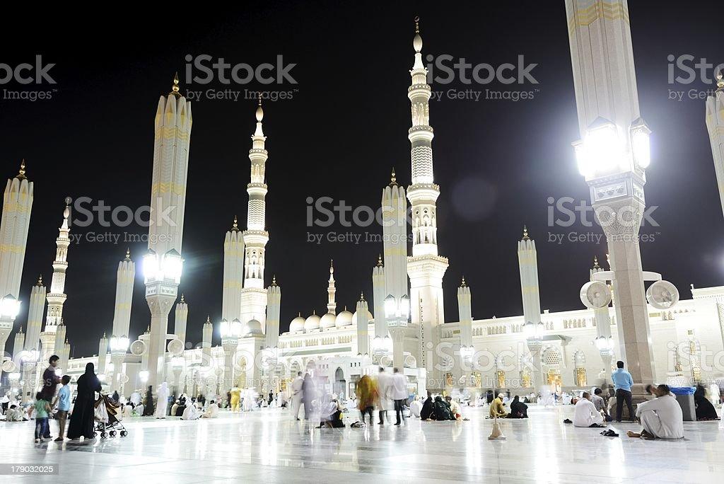 Medina Mosque at night stock photo
