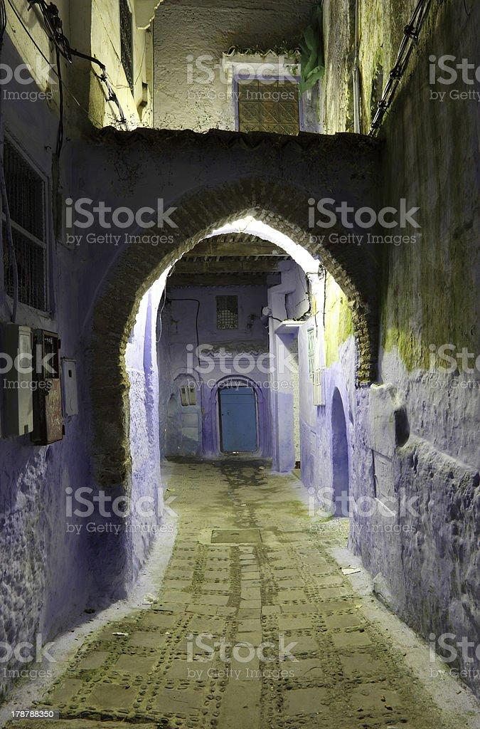 Medina of Chefchaouen at night royalty-free stock photo