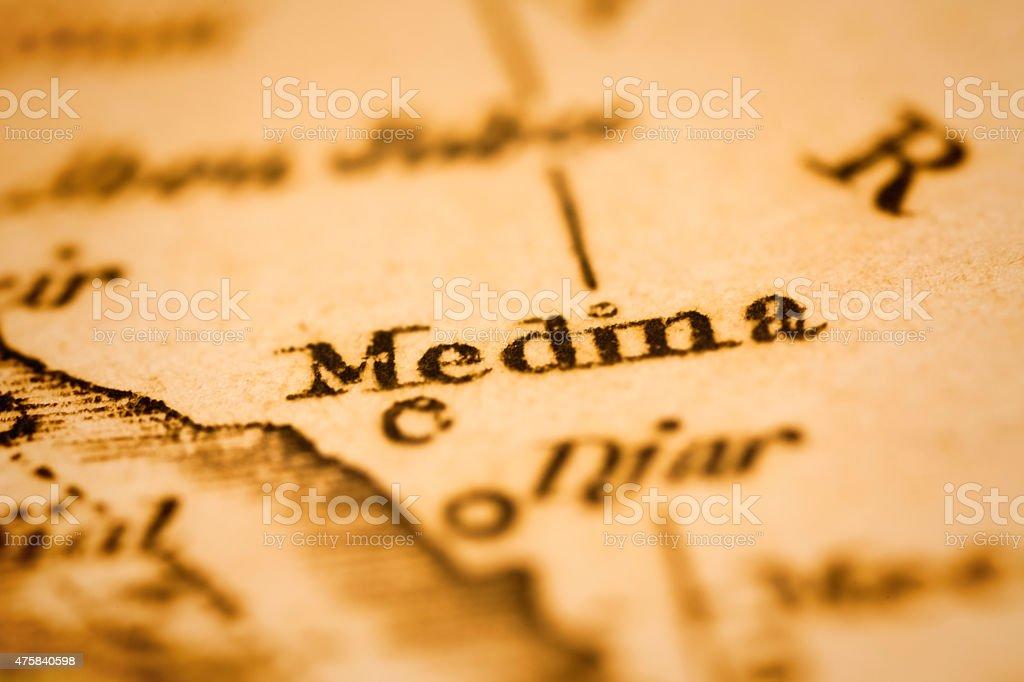 Medina on an Antique map stock photo