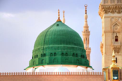 Medina / Saudi Arabia - 11 May 2017:  Green Dome Close up -  Prophet Mohammed Mosque , Al Masjid an Nabawi