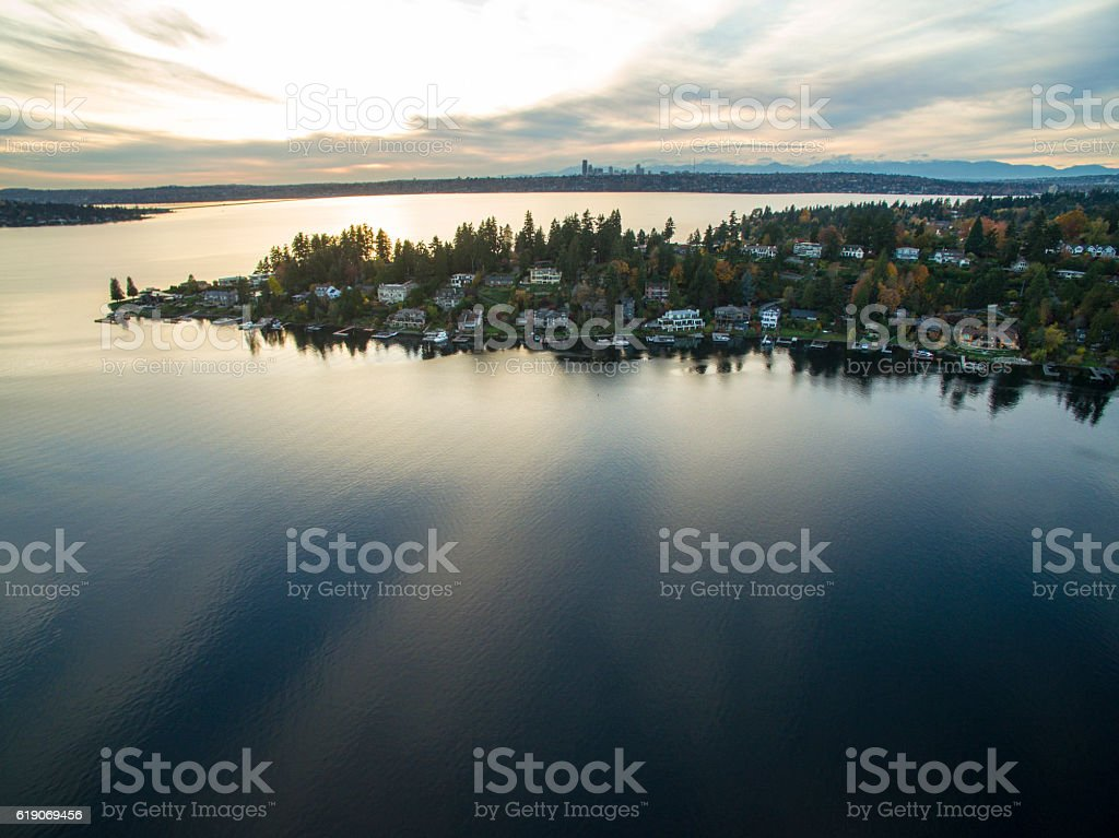 Medina Washington Aerial View 스톡 사진