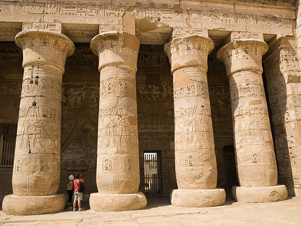 Medinet Habu Temple Colonnade of the second court.  Tomb Of Ramses III stock pictures, royalty-free photos & images