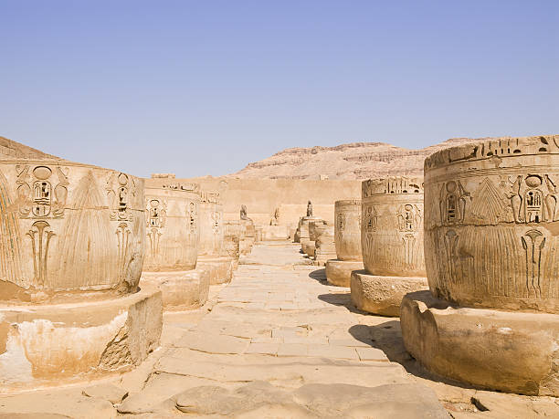 Medinet Habu Temple Rests of the ancient columns of the Great hypostyle hall.  Tomb Of Ramses III stock pictures, royalty-free photos & images