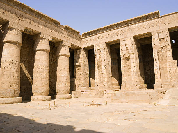 Medinet Habu Temple Corner of the second court. Tomb Of Ramses III stock pictures, royalty-free photos & images