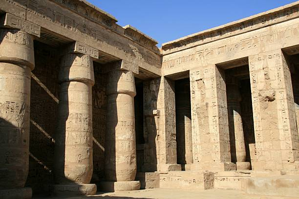 Medinet Habu (Mortuary Temple of Ramses III), Thebes, Egypt  Tomb Of Ramses III stock pictures, royalty-free photos & images