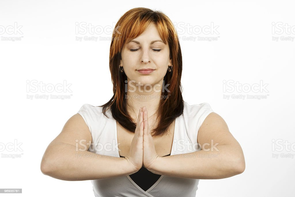 Meditated woman royalty-free stock photo