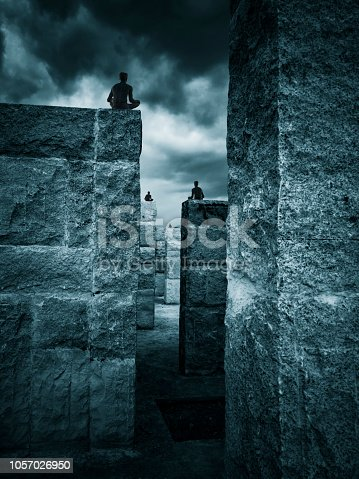 639291528istockphoto Meditating Abstract Architecture 3D people 1057026950