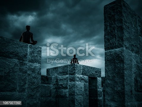 639291528istockphoto Meditating Abstract Architecture 3D people 1057027202