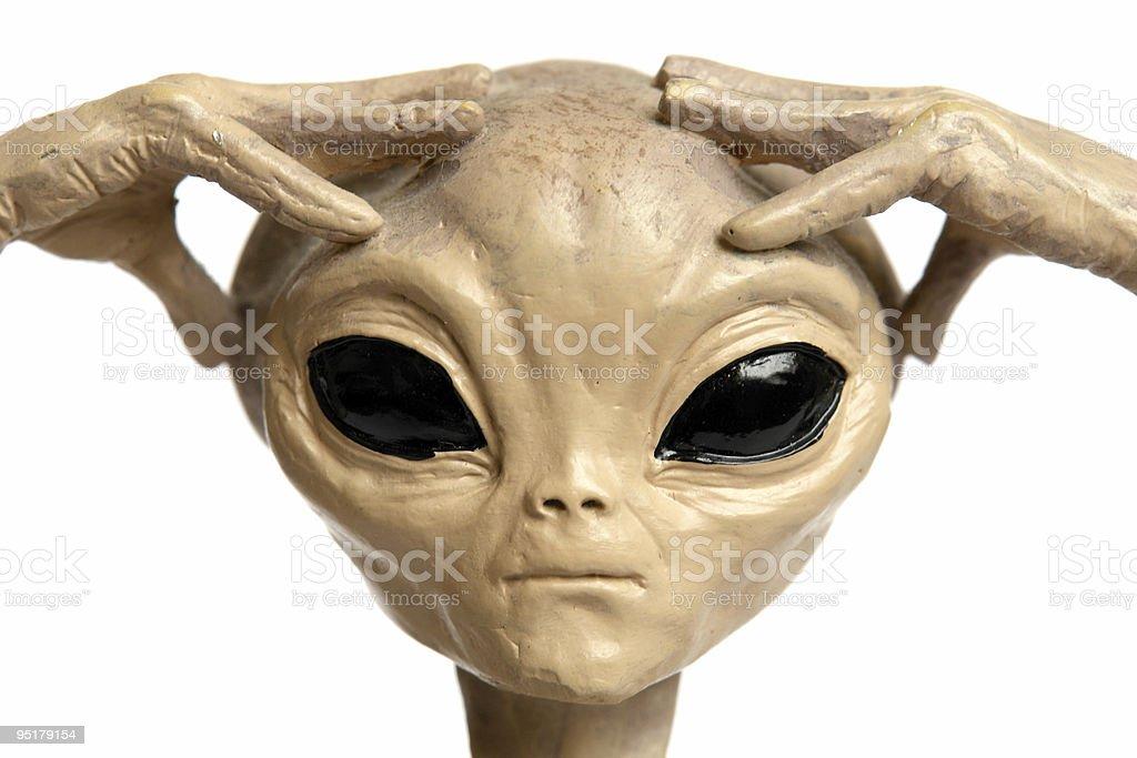 Meditating alien 2 stock photo