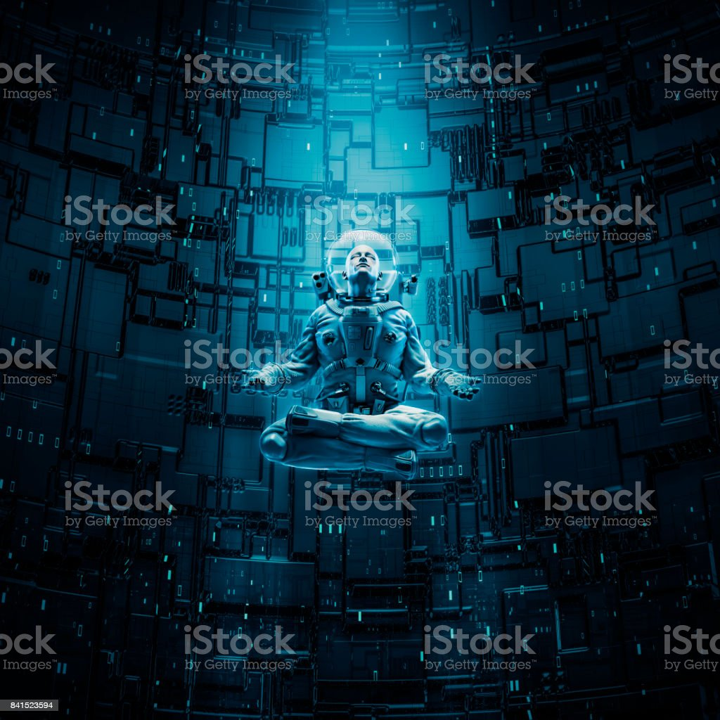 Meditating astronaut concept stock photo
