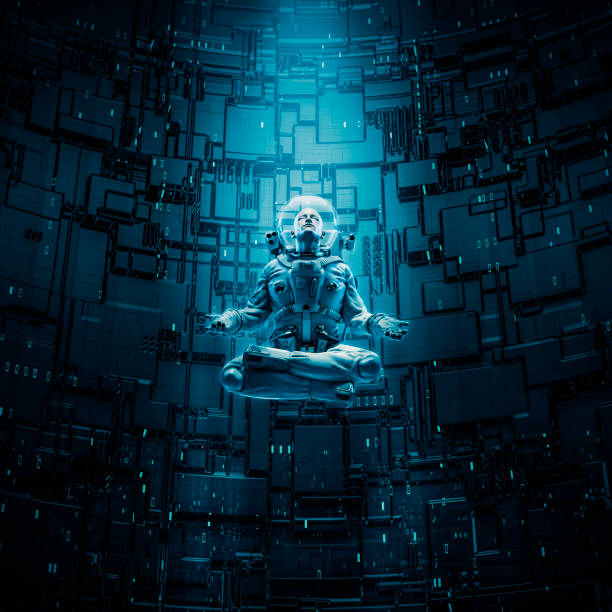 Meditating astronaut concept stock photo