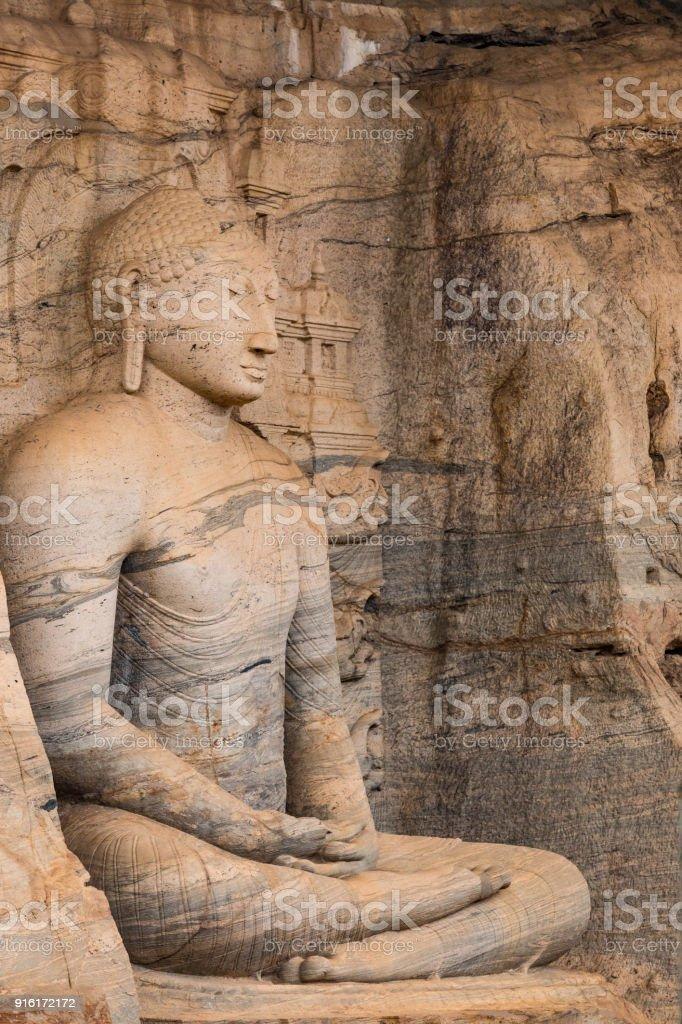 Meditating Buddha in Gal Viharaya Temple zbiór zdjęć royalty-free