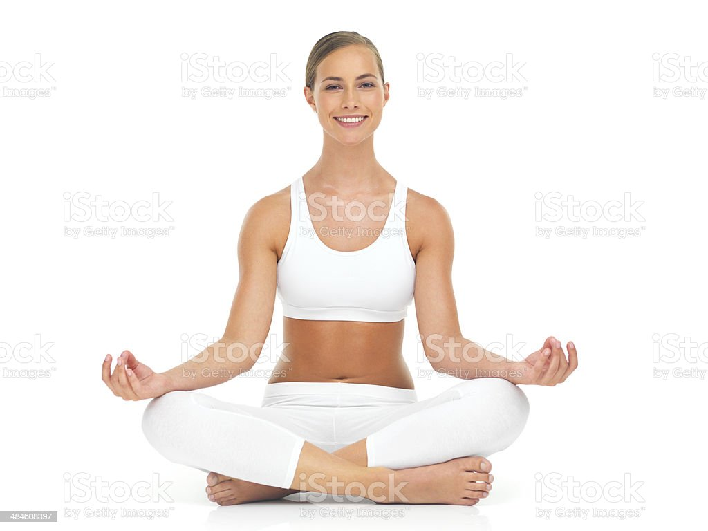 Meditating can change your mood completely! stock photo