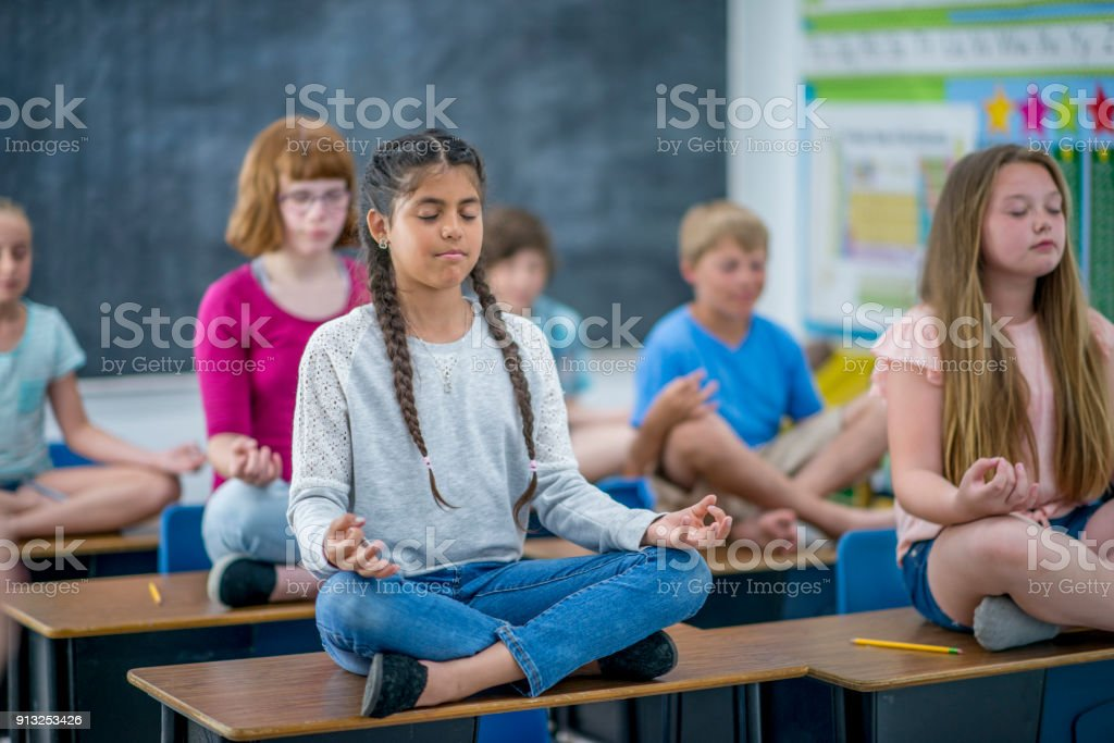 Meditating In Class stock photo