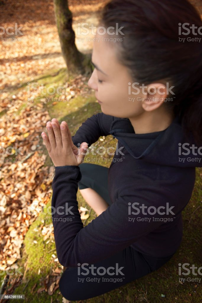 Meditating in Forest royalty-free stock photo