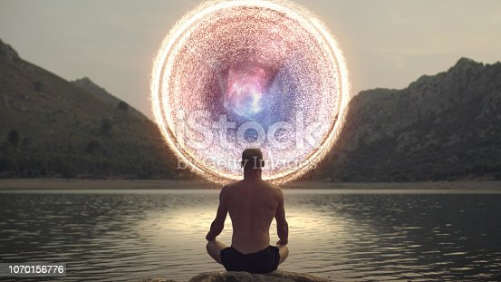 Spiritual Awareness. Man opening portal to other galaxy.