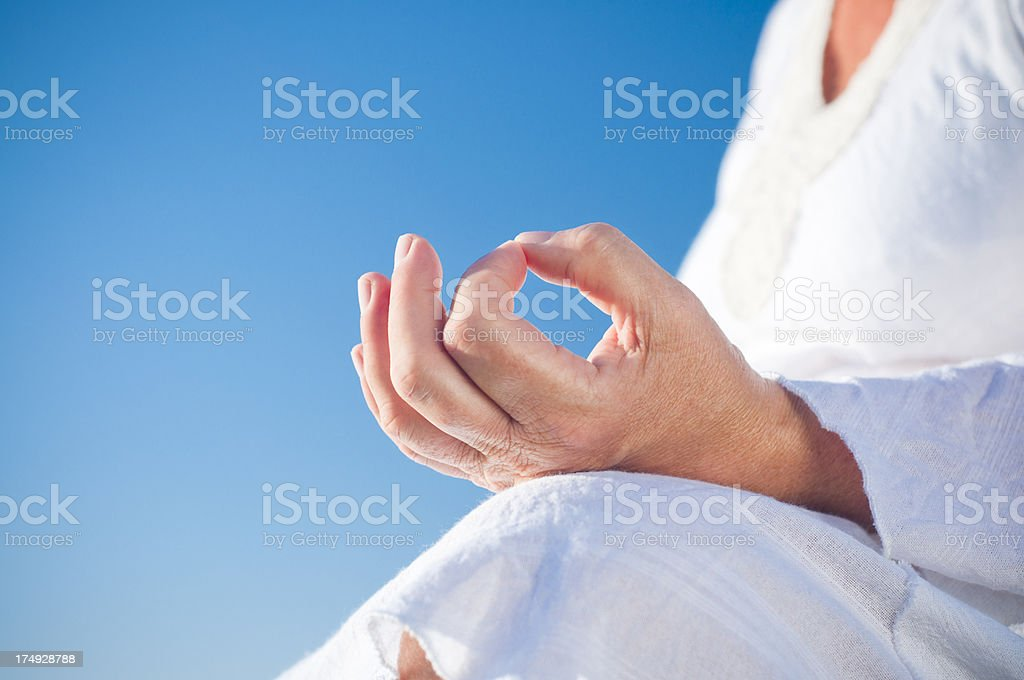 Meditating outdoors royalty-free stock photo