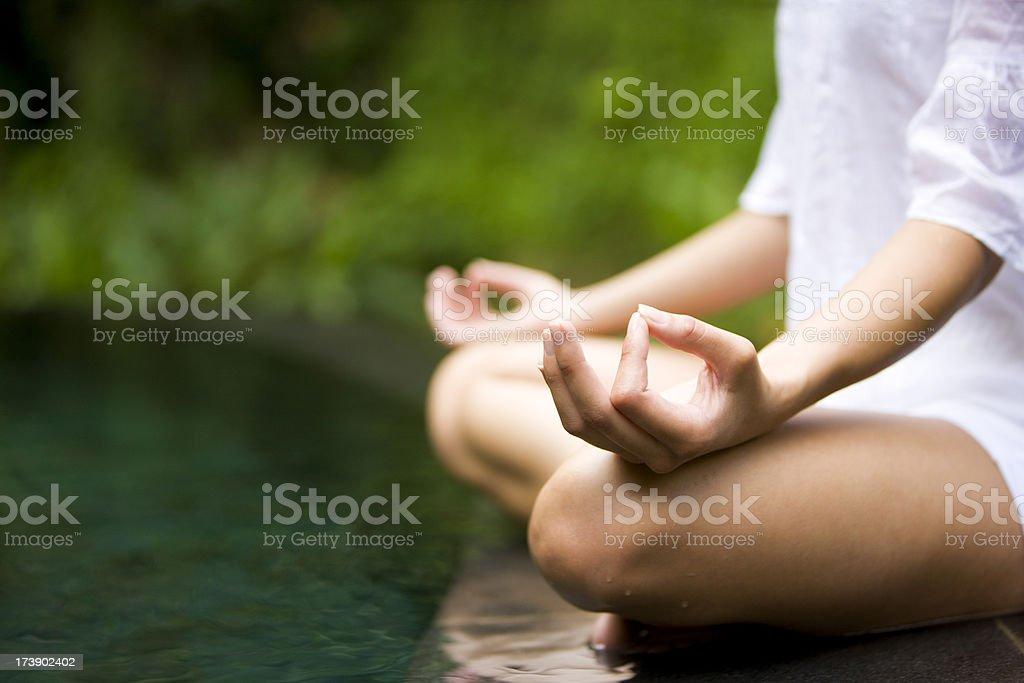 Meditating stock photo