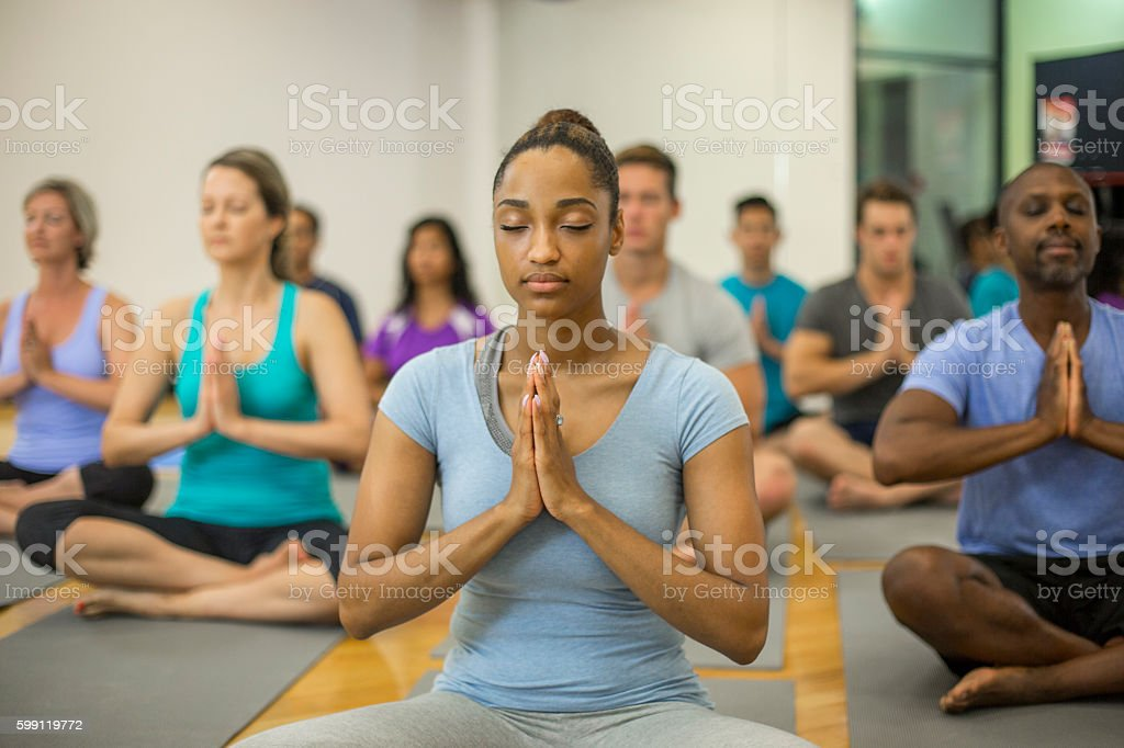 Meditating Quietly Together stock photo