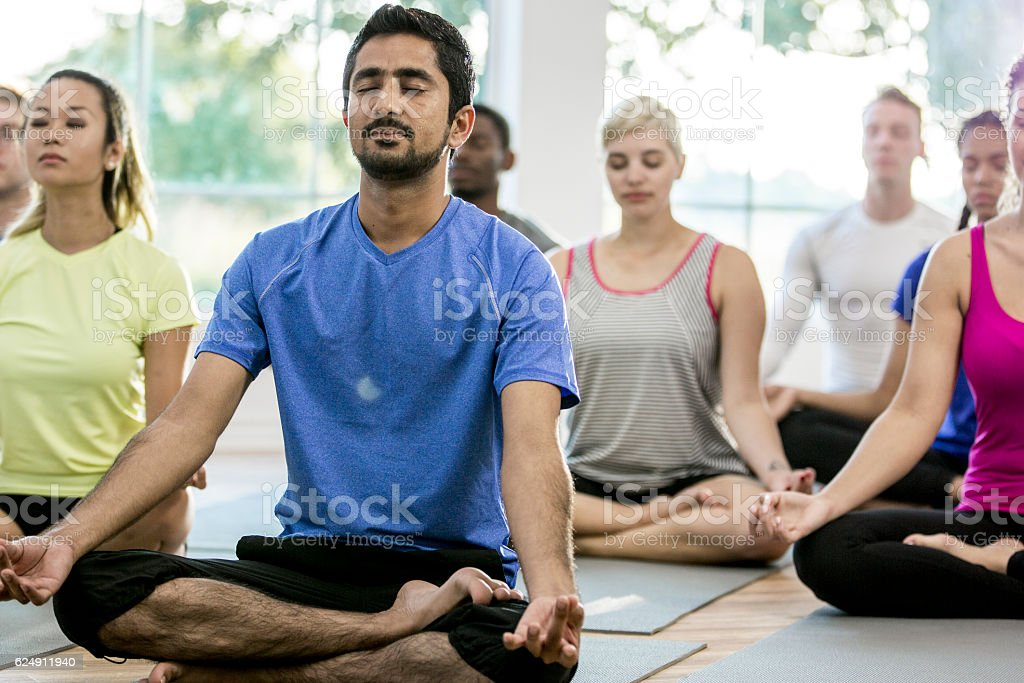 Meditating Together in Class stock photo