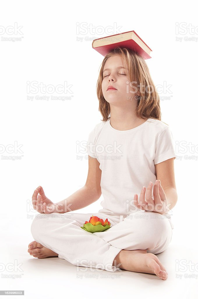 Meditating witk  book royalty-free stock photo