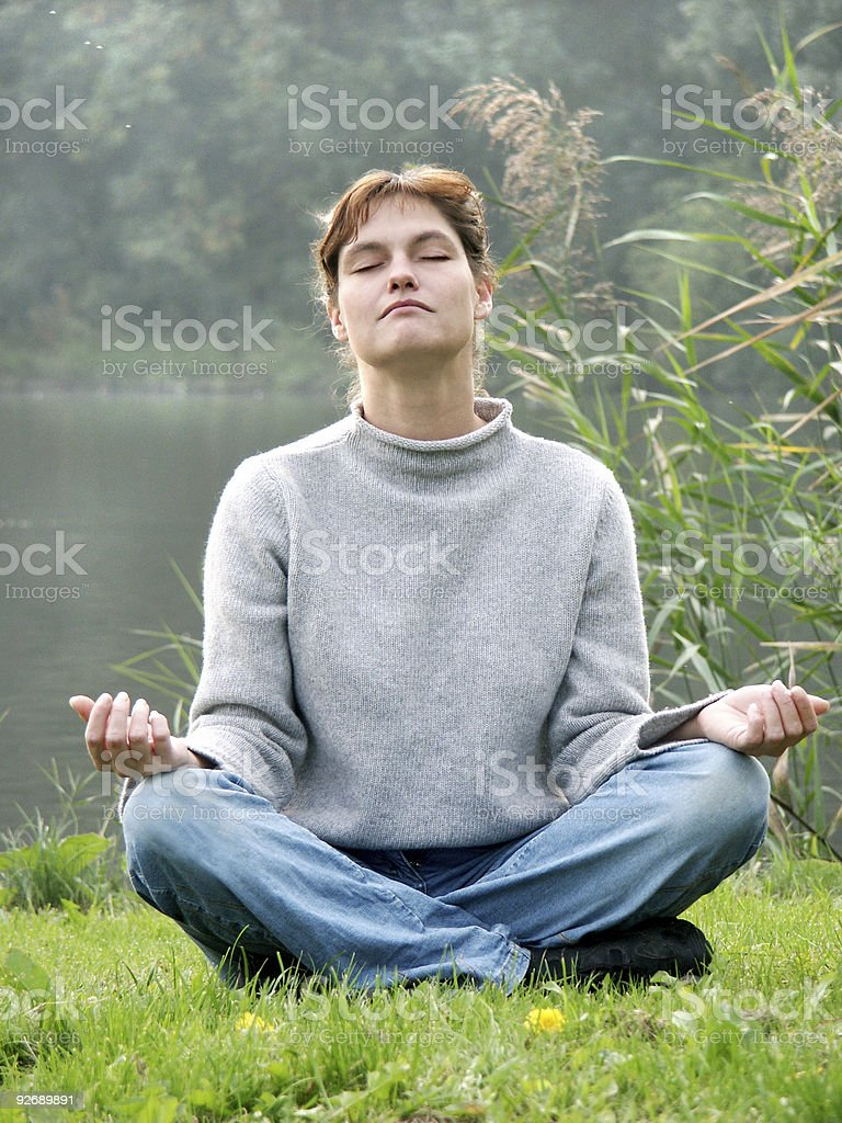 Meditating Woman royalty-free stock photo