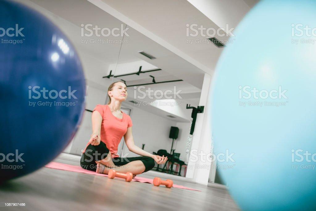 Meditation After Pilates Training stock photo