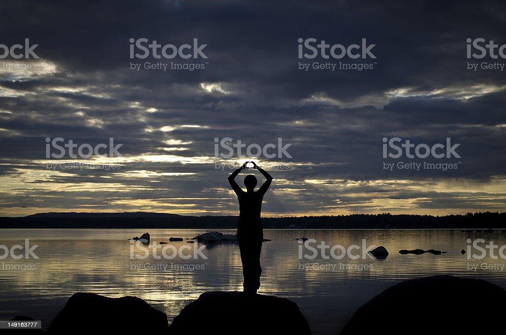 Meditation am See stock photo