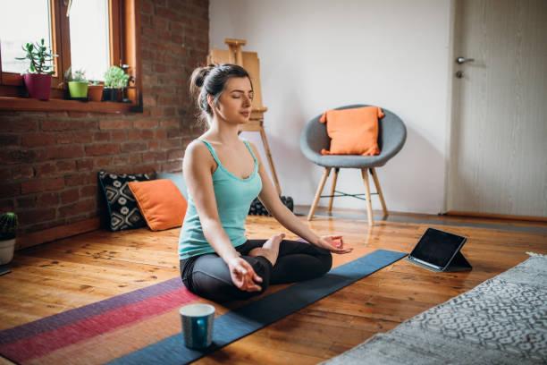 Meditation and Spirituality at Home stock photo