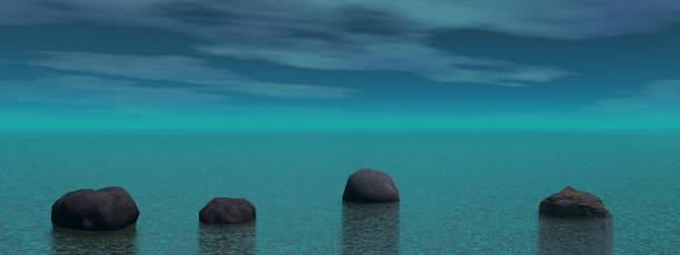 Meditation and stone landscape blue - 3D rendering stock photo