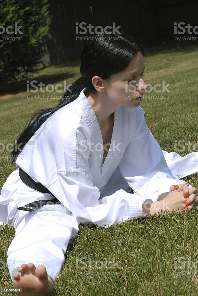 Meditation and stretching royalty-free stock photo