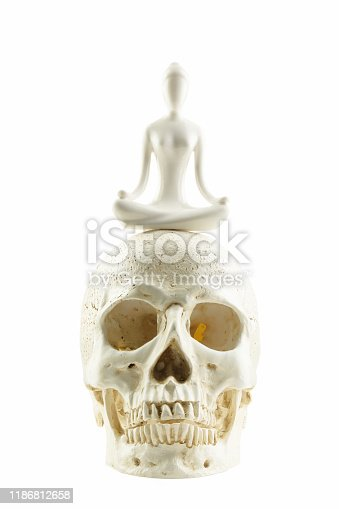 istock meditation and yoga on skull isolated on white background with clipping path 1186812658