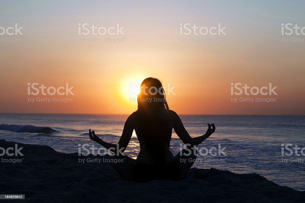 Meditation at sunrise royalty-free stock photo