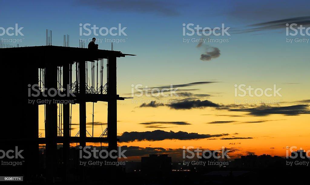 Meditation at the edge of sunset stock photo