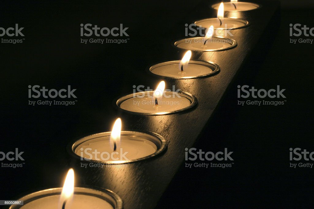 Meditation Candles. Perspective stock photo