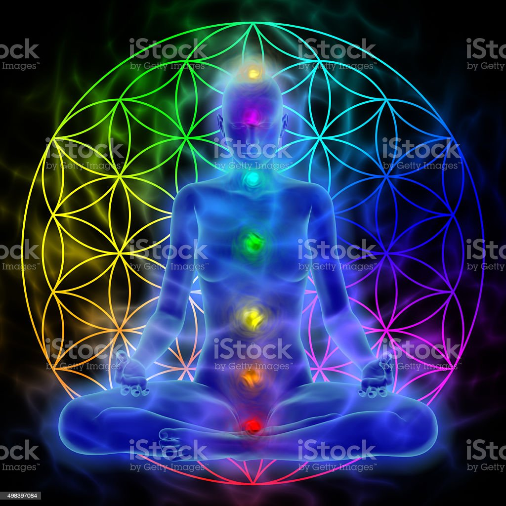 Meditation - flower of life stock photo