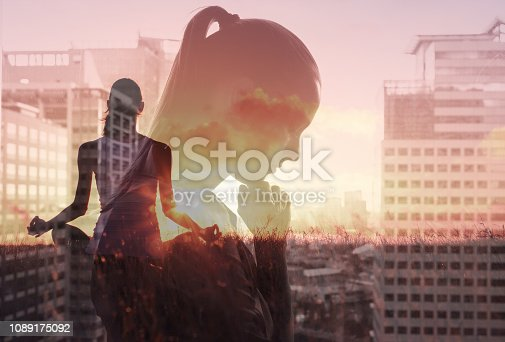 istock Meditation, healthy mind and body, stress management concept. 1089175092