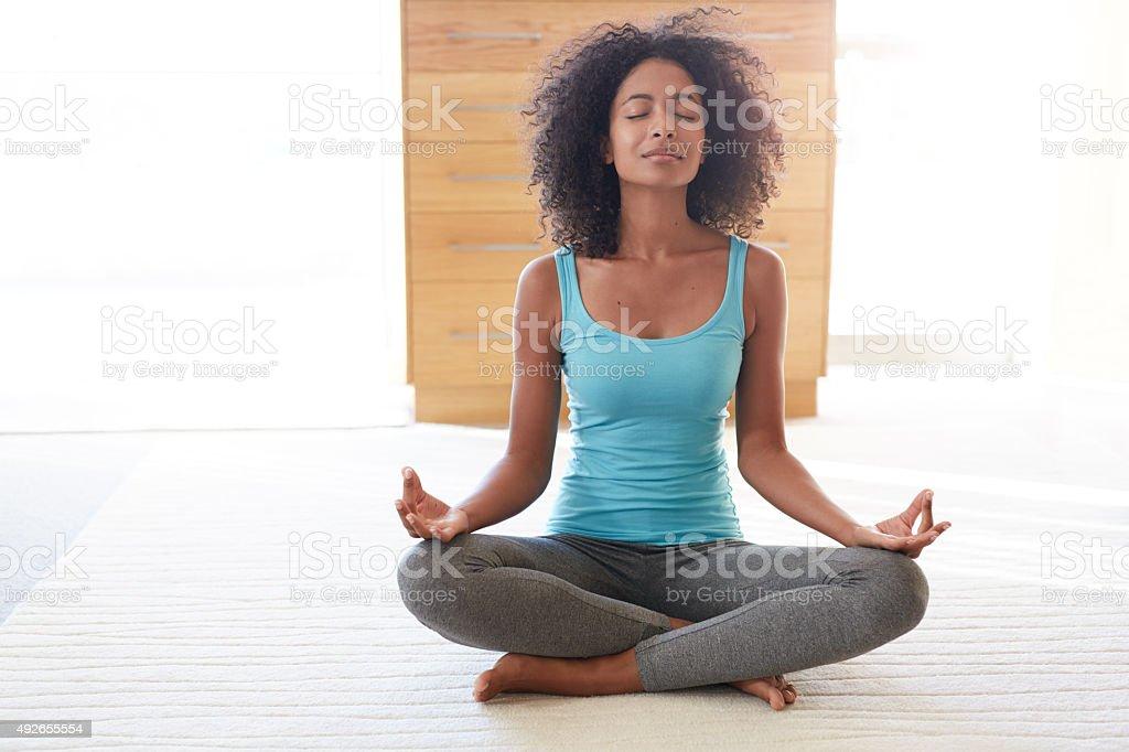 Meditation- her wellness secret stock photo