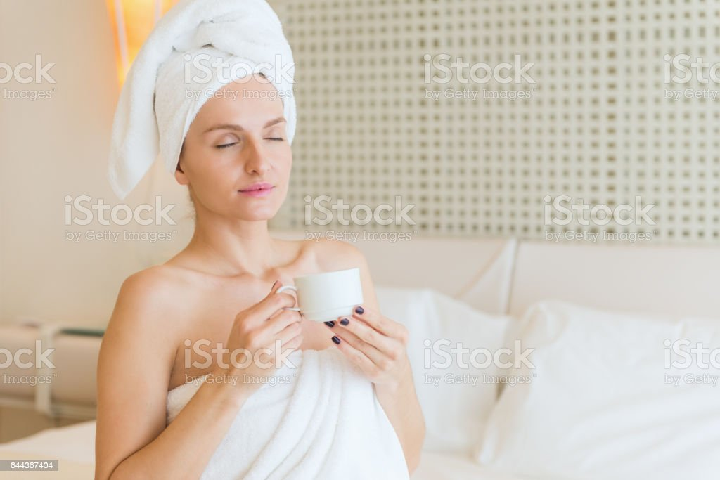 Meditation in bed stock photo