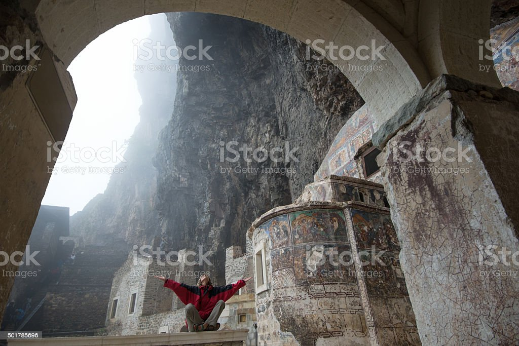 meditation in old rock  monastery stock photo