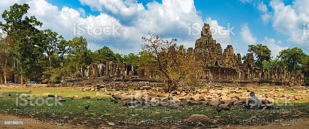 Meditation in Prasat Bayon, Cambodia stock photo