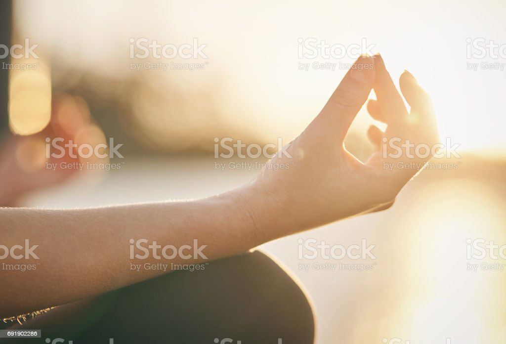 Meditation is the key to mental fitness stock photo