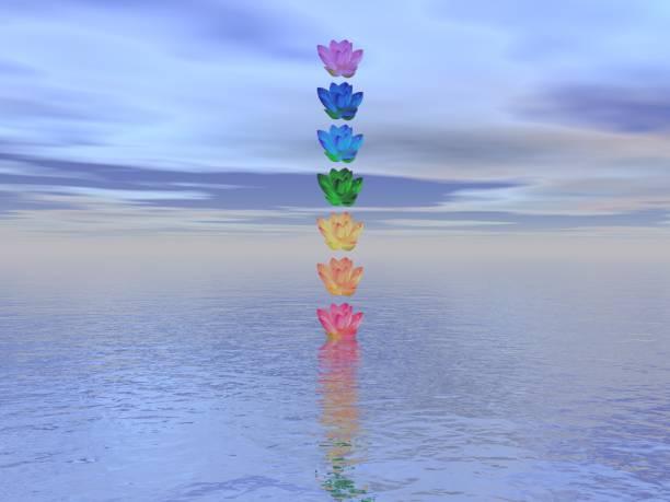 Meditation landscape and chakras for balance - 3d render stock photo