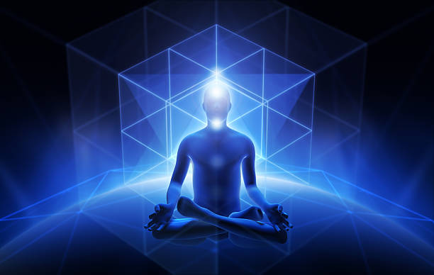 Meditation of man stock photo