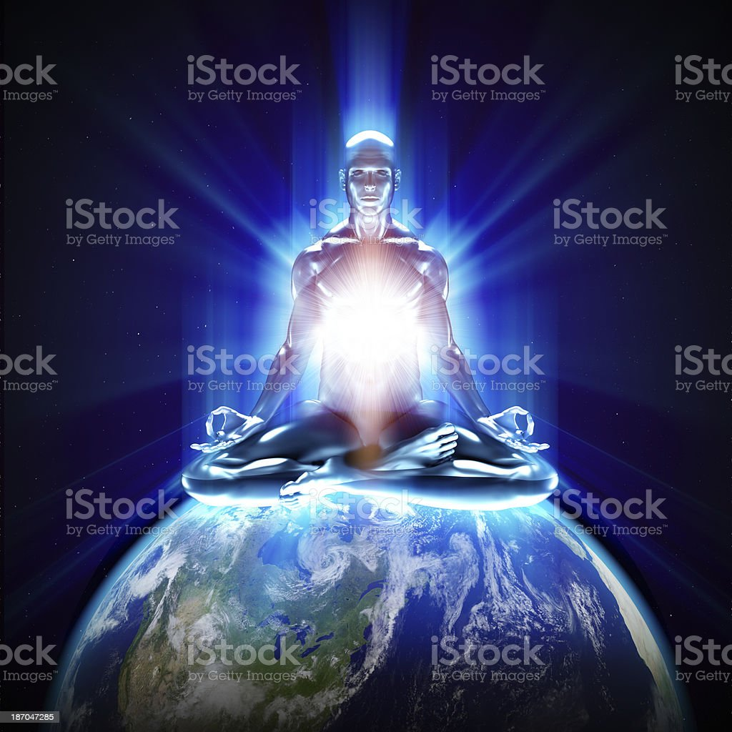 Meditation on earth stock photo