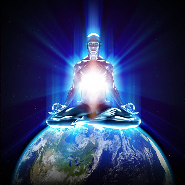 Meditation on earth Meditation on earth new age music stock pictures, royalty-free photos & images