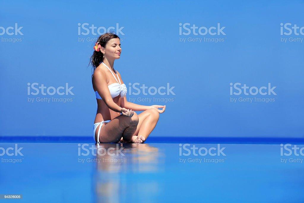 Meditation on water. royalty-free stock photo