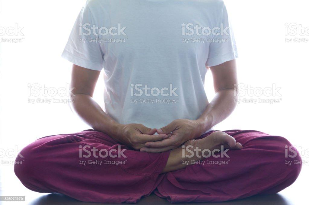 Meditation on white background stock photo