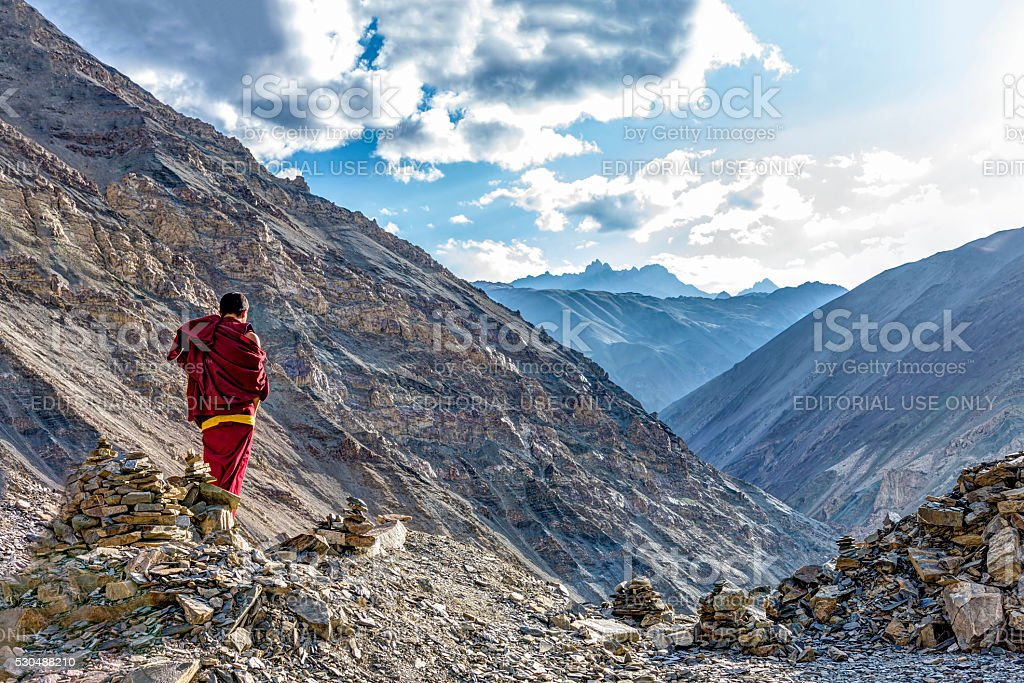 Meditation over the Rizong monastery gorge in Ladakh, India stock photo