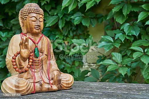 wooden buddha statue in front of green